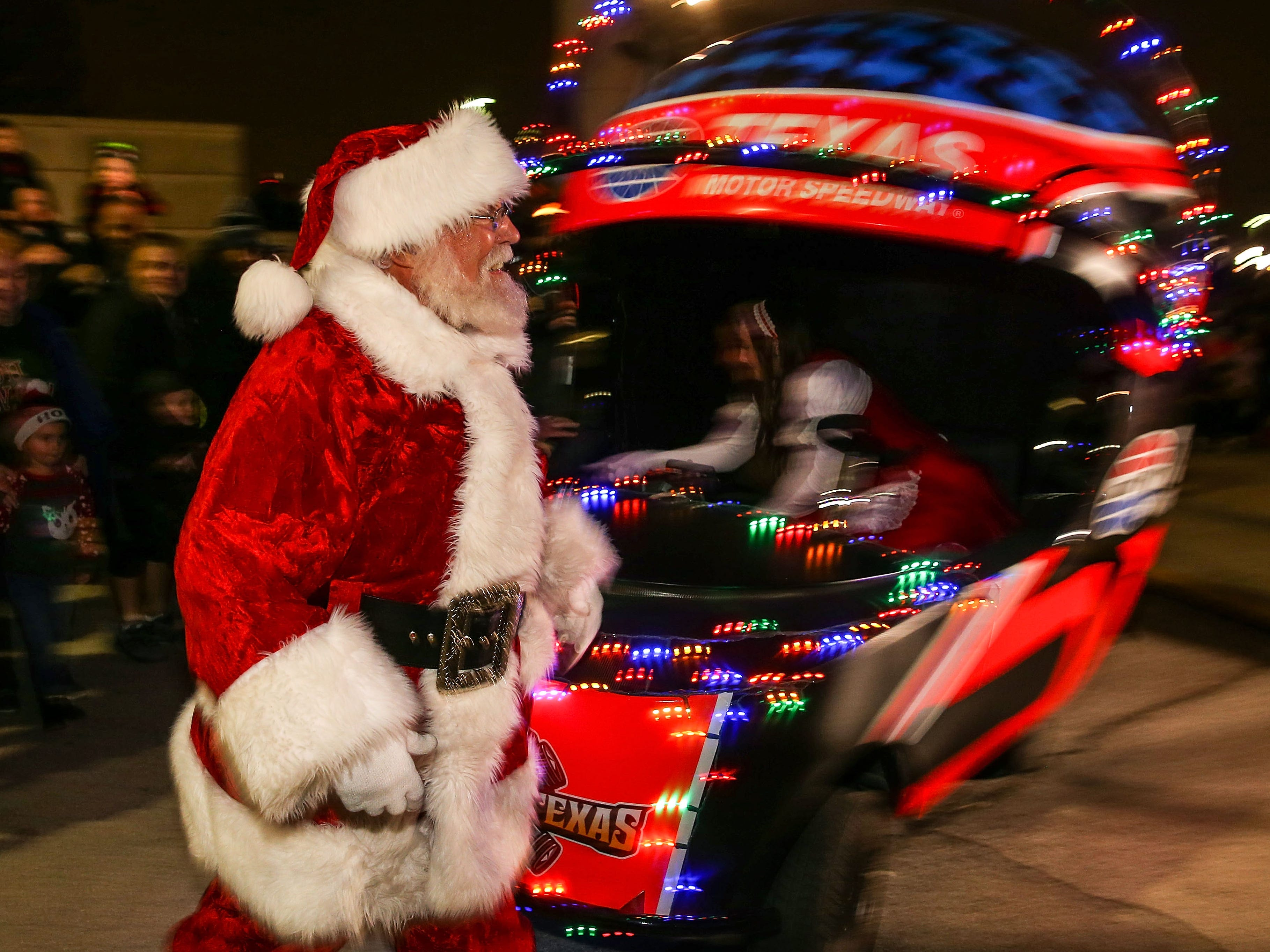 Santa Claus arrives at the Texas Motor Speedway Tree Lighting and Grant Ceremony at Texas Motor Speedway on Dec. 4, 2018, in Fort Worth, Texas.
