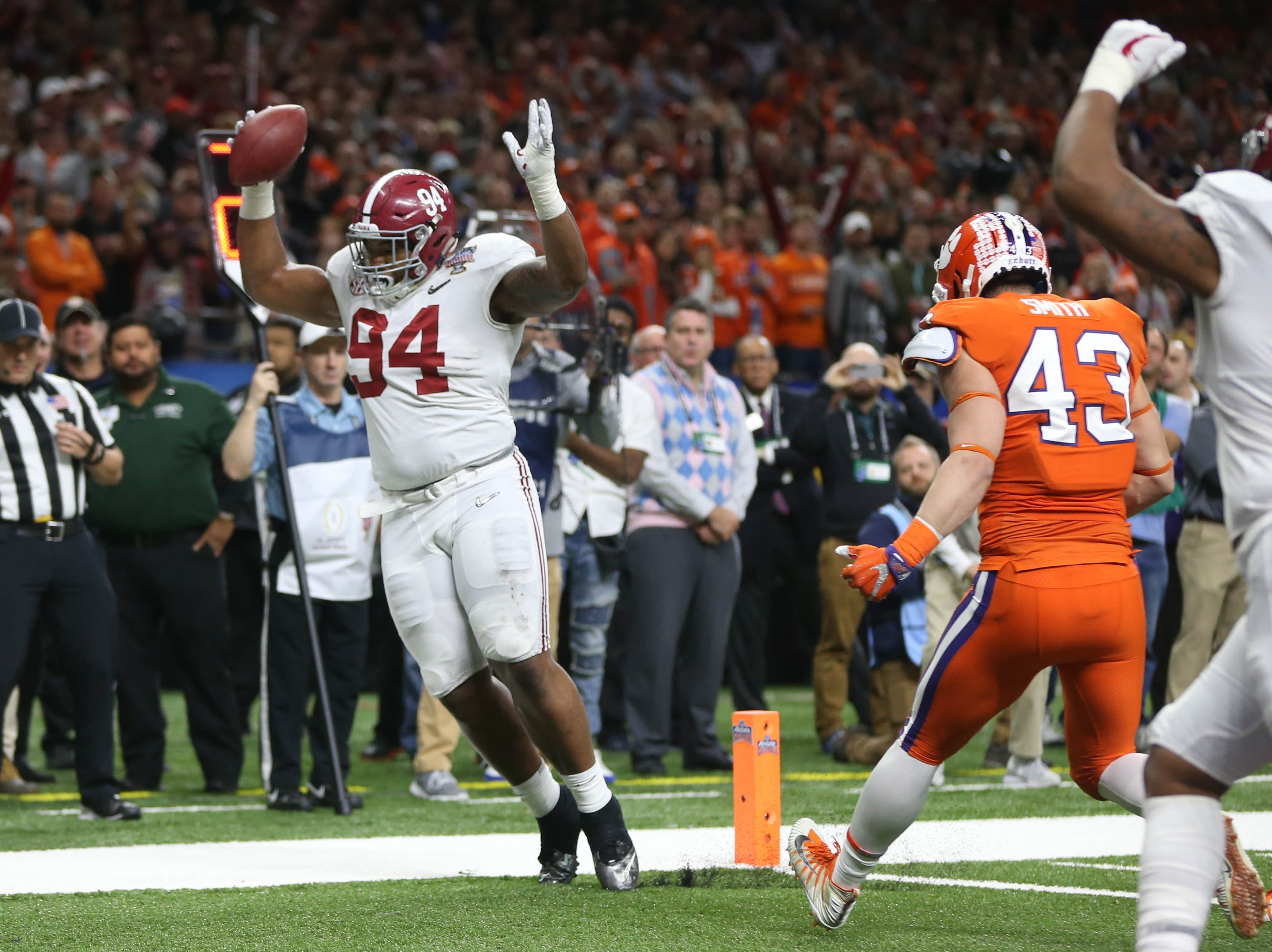 Jan. 1: Alabama Crimson Tide defensive lineman Daron Payne (94) catches a touchdown pass during the third quarter against the Clemson Tigers in the Sugar Bowl.