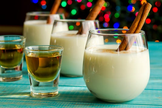 Festive Egg Nog With Cinnamon And Cookies