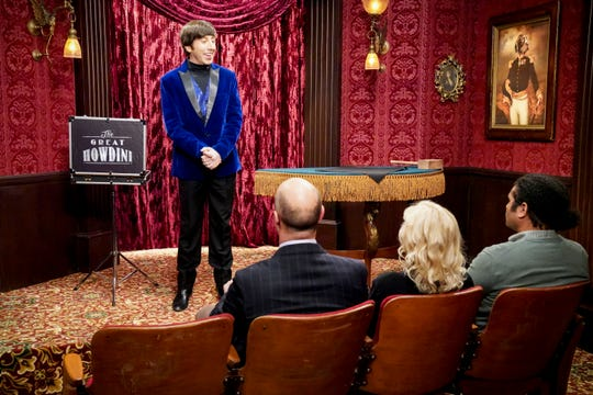 Howard (Simon Helberg), with the guidance of his wife, Bernadette, auditions at the Magic Castle in Thursday's episode of 'The Big Bang Theory.'
