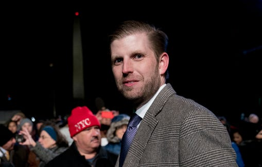 Eric Trump, the son of President Donald Trump, departs following the National Christmas Tree lighting ceremony at the Ellipse near the White House in Washington, Nov. 28, 2018.
