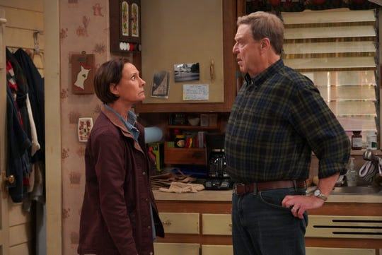 Jackie (Laurie Metcalf), left, and her brother-in-law, Dan (John Goodman), butt heads after he questions the motives of her boyfriend on an episode of ABC's 'The Conners.'