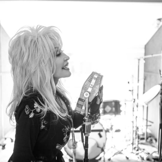 "Dolly Parton in the recording booth for ""Dumplin' """