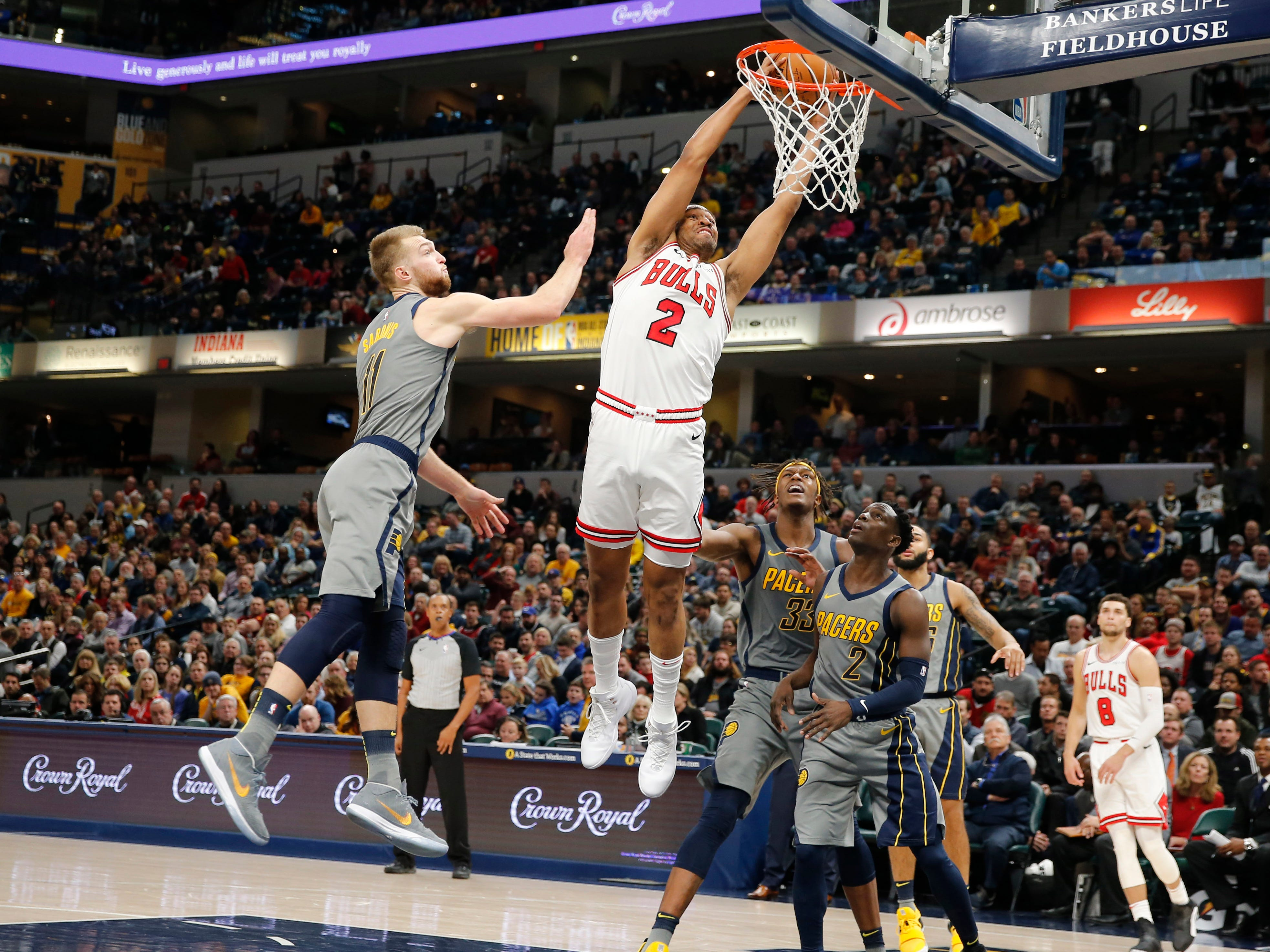 Dec. 4: Bulls forward Jabari Parker dunks the ball against Pacers forward Domantas Sabonis during the fourth quarter at Bankers Life Fieldhouse.