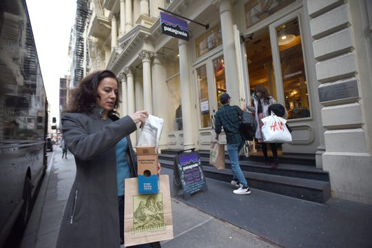 Christina Cobb was shopping at the Patagonia store in New York city which uses recycled materials in its clothing . She bought at a Guppyfriend Washing Bag.