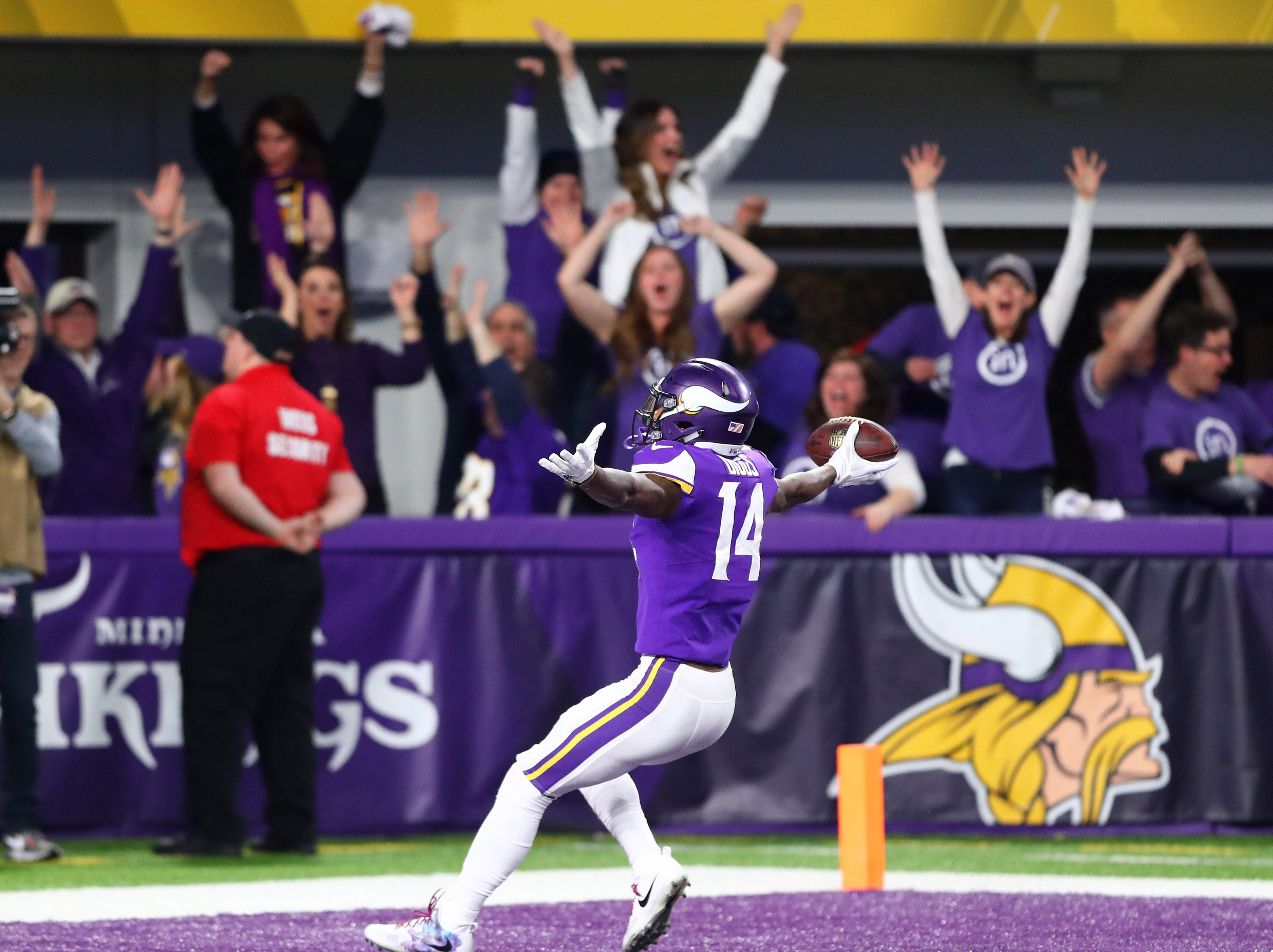 Jan. 14: Minnesota Vikings wide receiver Stefon Diggs celebrates his last-second miracle touchdown to beat the New Orleans Saints in the NFC's divisional round.