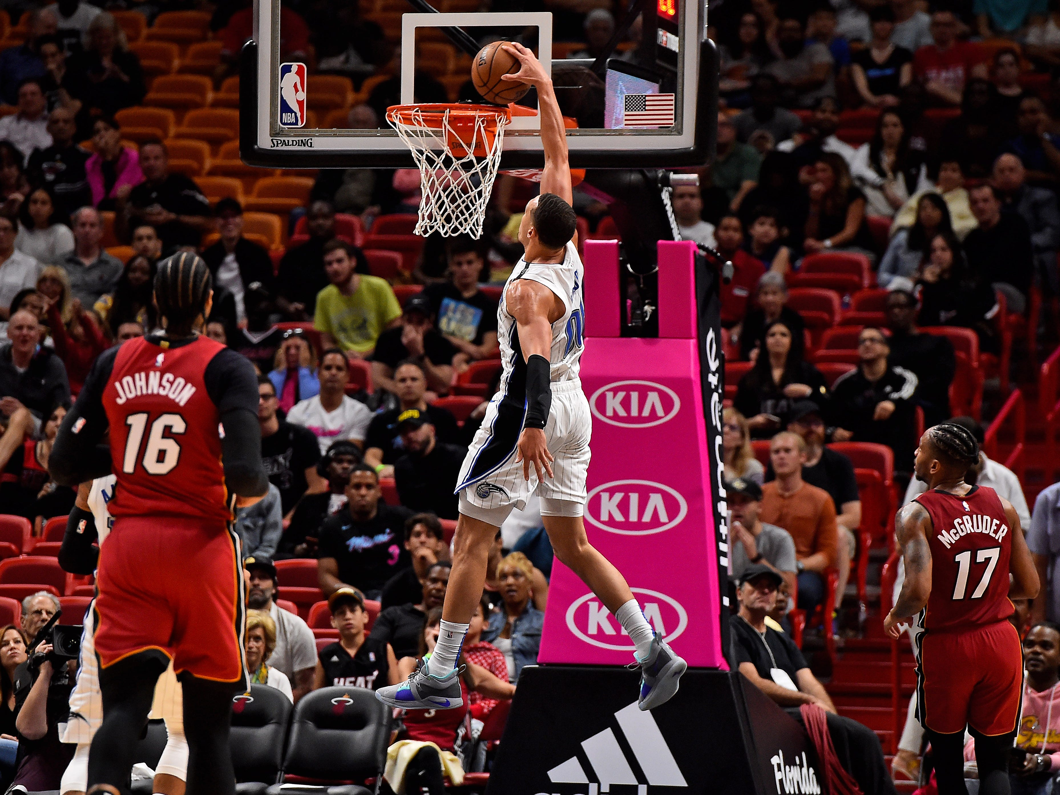 Dec. 4: Magic forward Aaron Gordon dunks the ball against the Heat during the second half at American Airlines Arena.