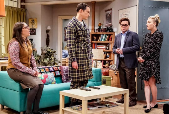Amy (Mayim Bialik), left, and especially Sheldon (Jim Parsons) are depressed after a scientific setback, as Leonard (Johnny Galecki) and Penny (Kaley Cuoco) try to support their friends in Thursday's episode of 'The Big Bang Theory.'