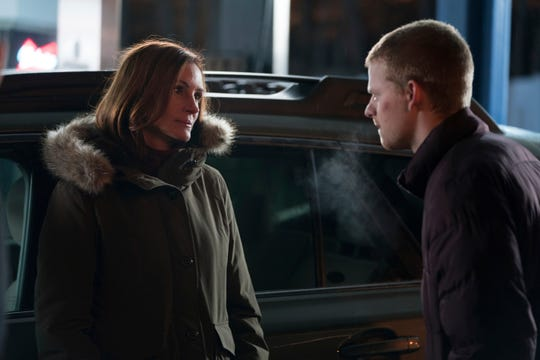 "Holly (Julia Roberts, left) trepidatiously welcomes son Ben (Lucas Hedges) back from rehab for Christmas in family drama ""Ben is Back."""