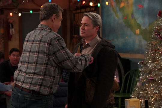 Dan (John Goodman), left, becomes increasingly suspicious about the motives of Jackie's boyfriend, Peter (Matthew Broderick), in Tuesday's episode of the ABC comedy, 'The Conners.'