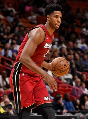 Miami Heat center Hassan Whiteside  took an early exit in Tuesday's game.