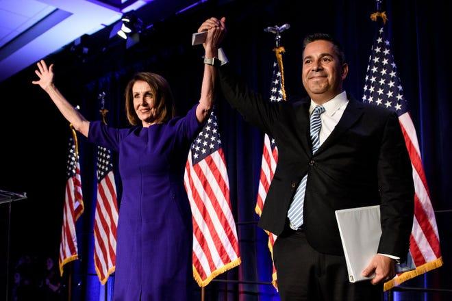 House Democratic leader Nancy Pelosi and Rep. Ben Ray Lujan, D-N.M., on Nov. 7, 2018.
