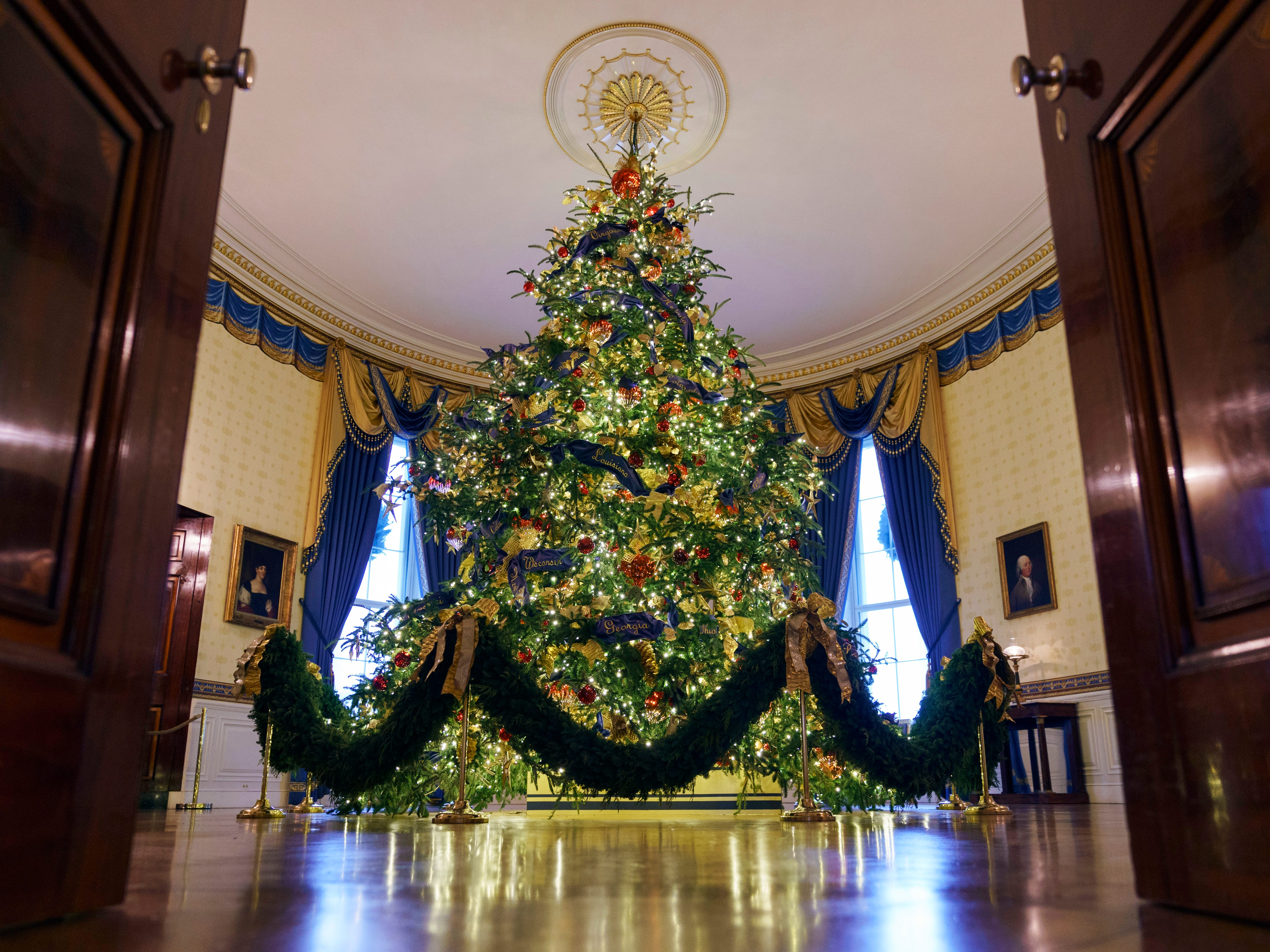 The official White House Christmas tree - a Fraser fir from Newland, North Carolina - is seen in the Blue Room on Nov. 26, 2018.