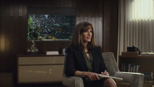 """In """"Homecoming,"""" Heidi Bergman (Julia Roberts) eagerly counsels soldiers struggling with PTSD, initially unaware of the Homecoming program's sinister intentions."""