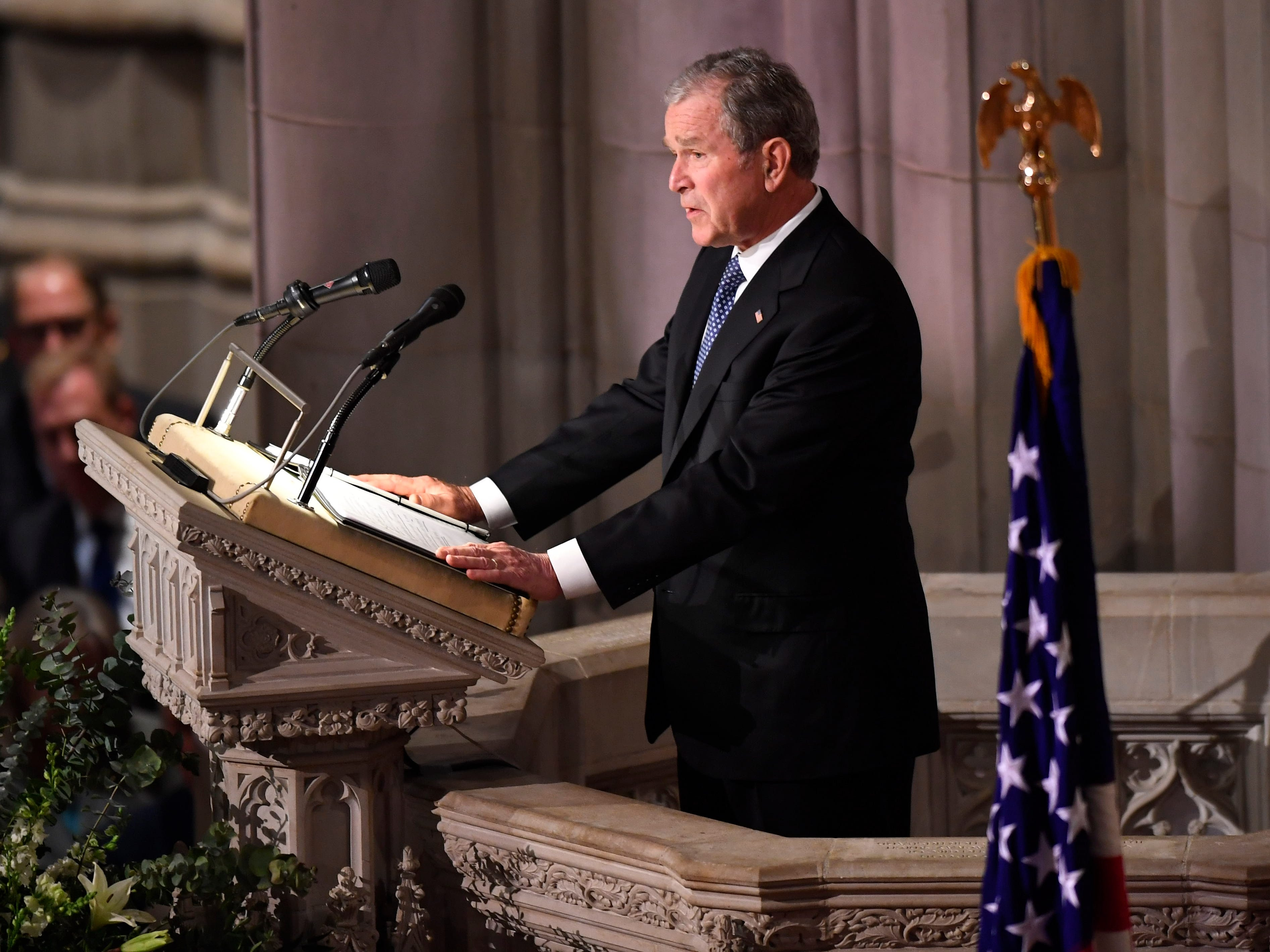 Former President George W. Bush speaks at a State Funeral for former President George H.W. Bush at the Washington National Cathedral in Washington, Dec. 5, 2018.