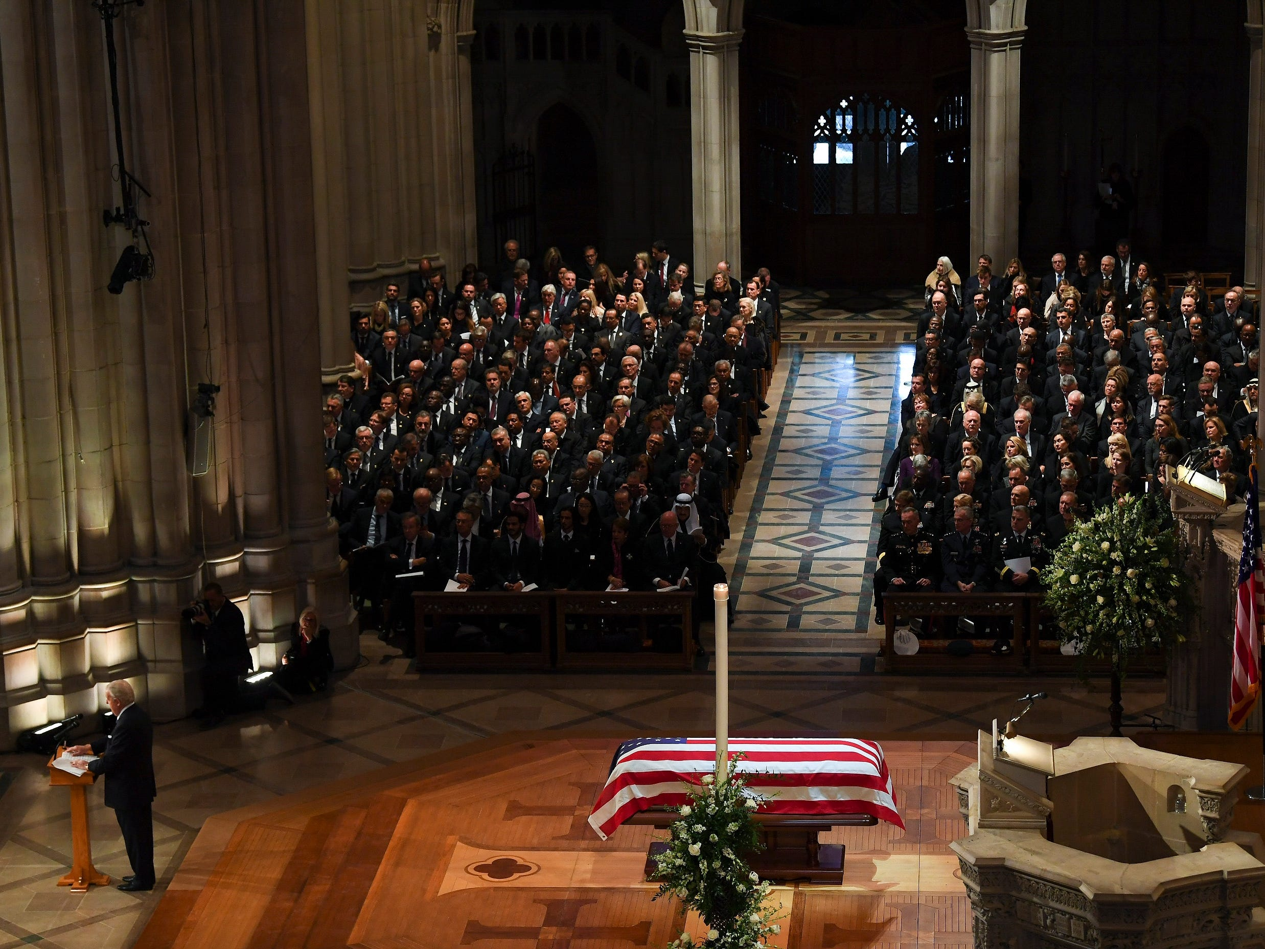 Former Prime Minister of Canada Brian Mulroney speaks during the state funeral for former President George H.W. Bush at the Washington National Cathedral, Dec. 5, 2018, in Washington.