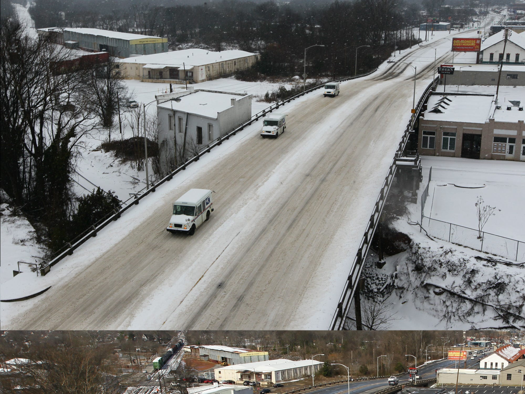 Snow covered Murray Avenue in Anderson Thursday morning, and a day later much of it melted away in 2014.