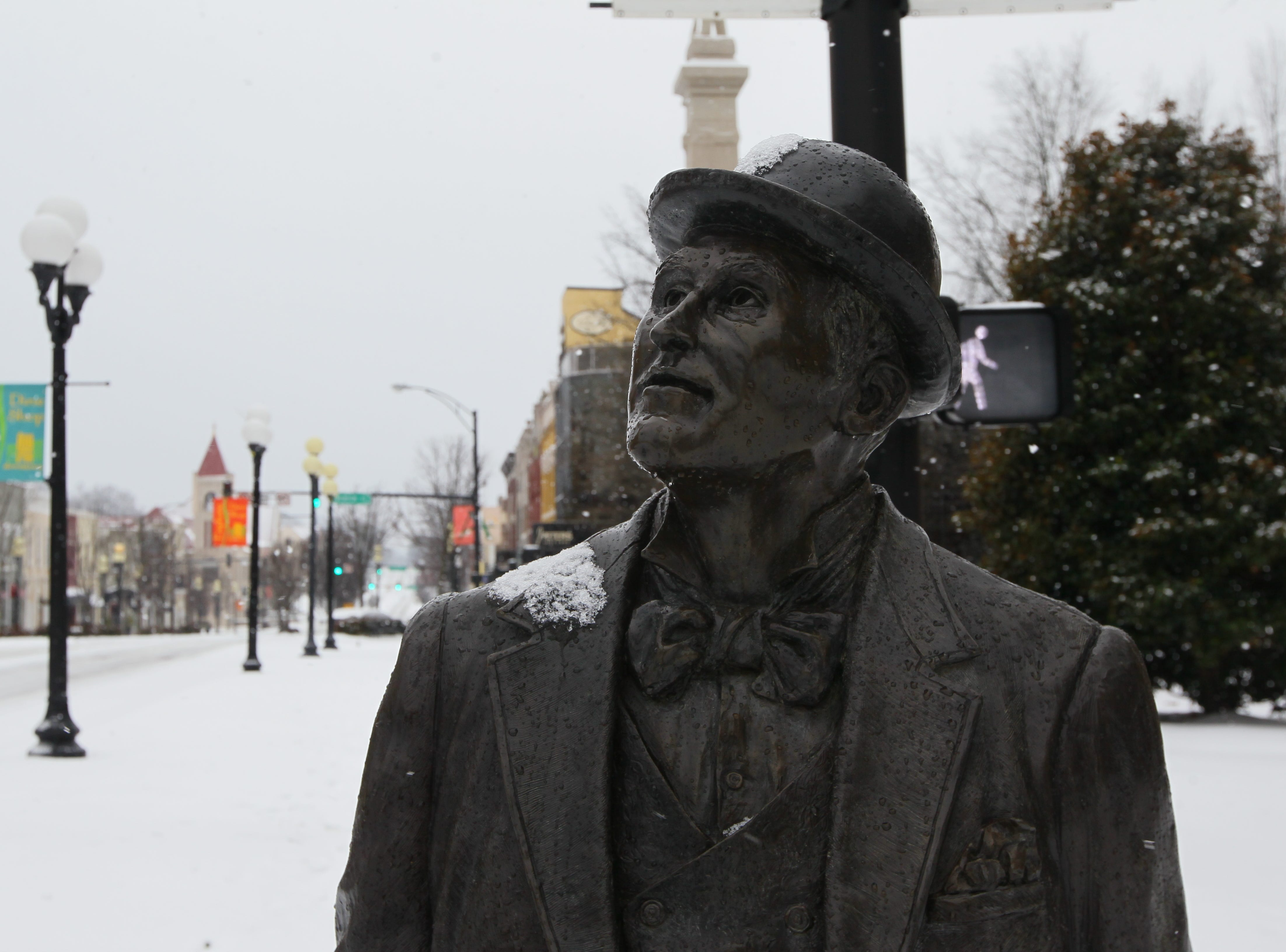The Whitner statue near the Anderson County Courthouse during the first snow of 2014.