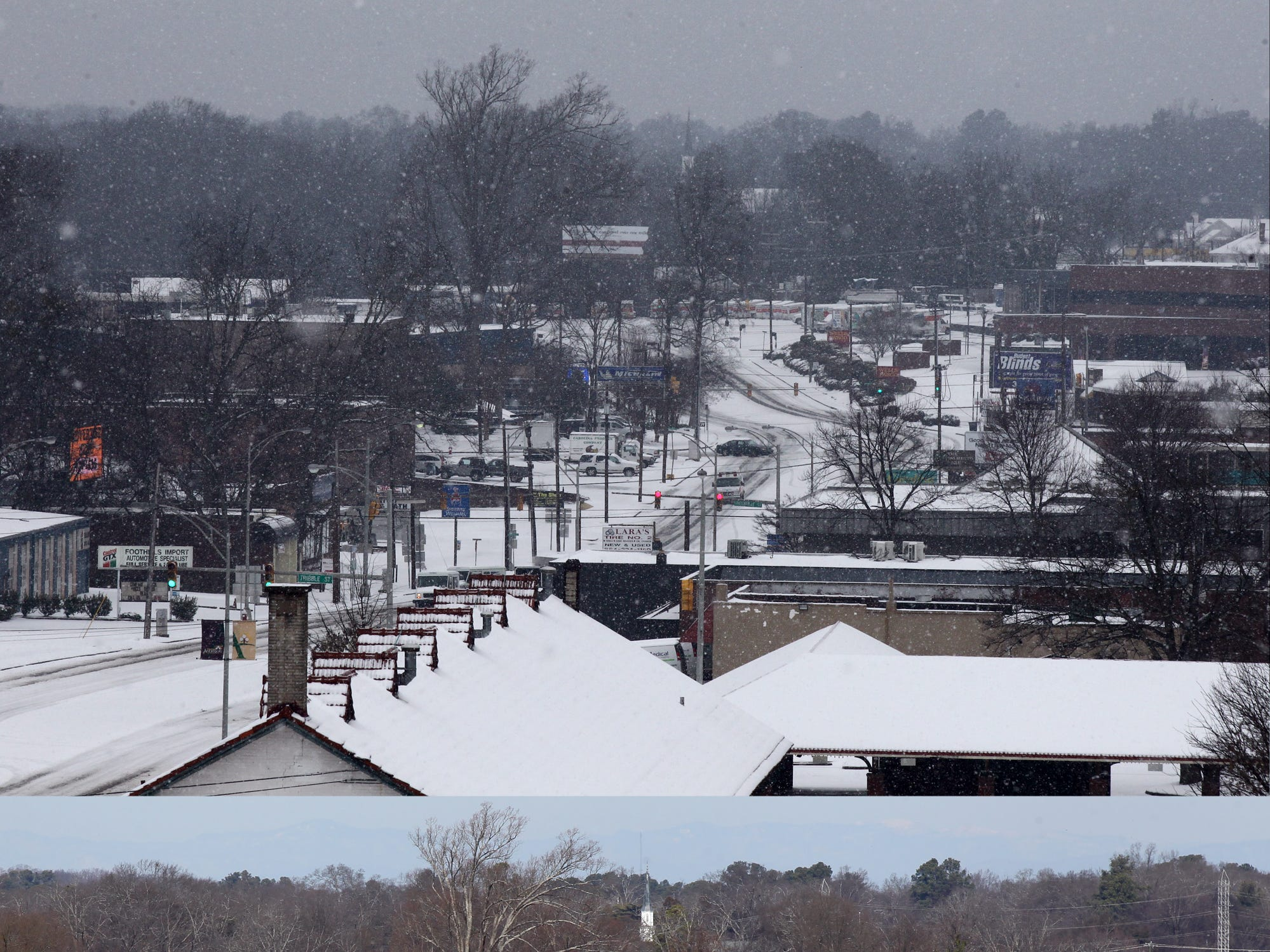 Snow covered Murray Avenue in Anderson Thursday morning, and a day later with clear roads in 2014.