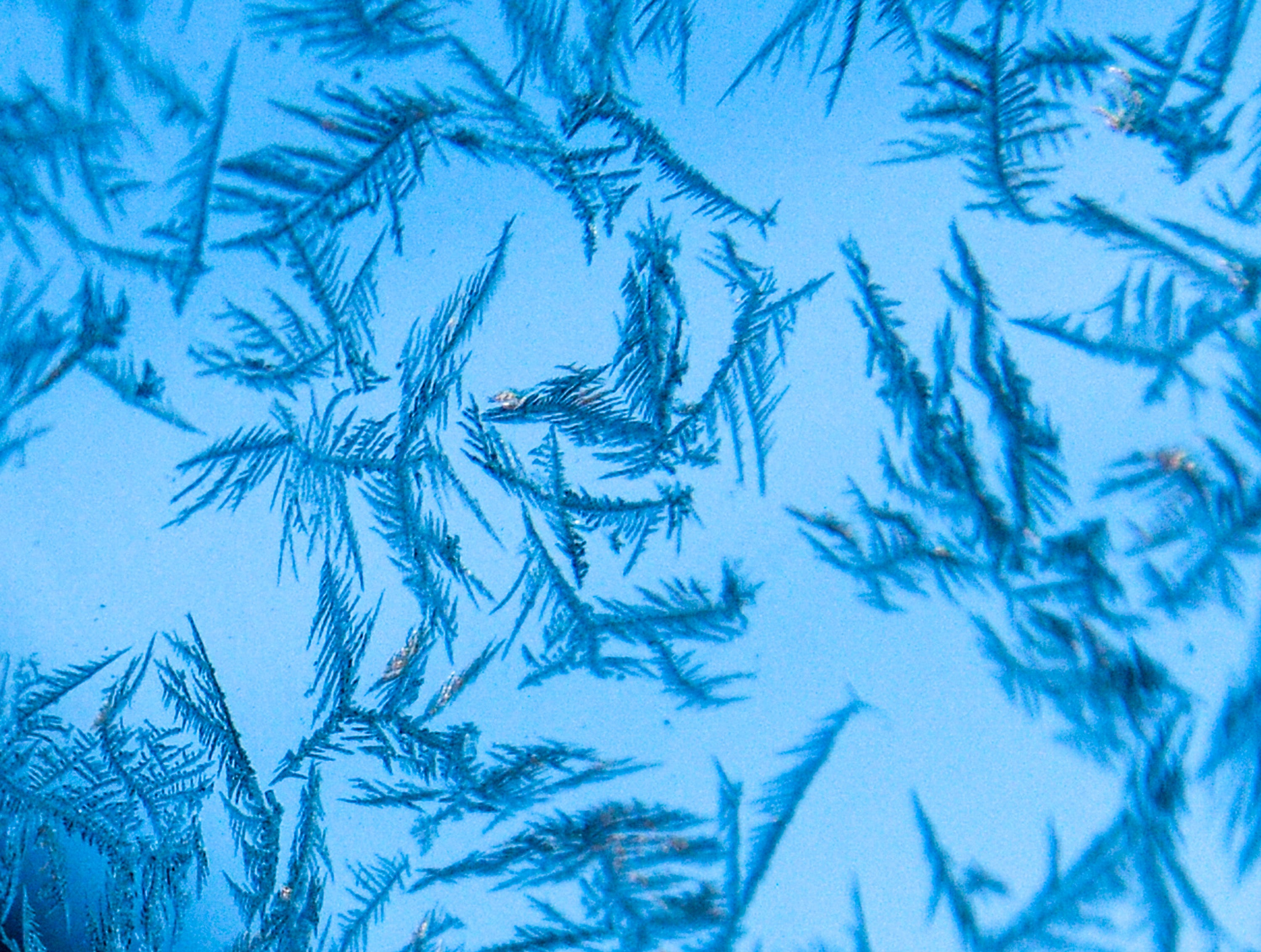 An icy car window shows snowflake-like crystals in 2017.
