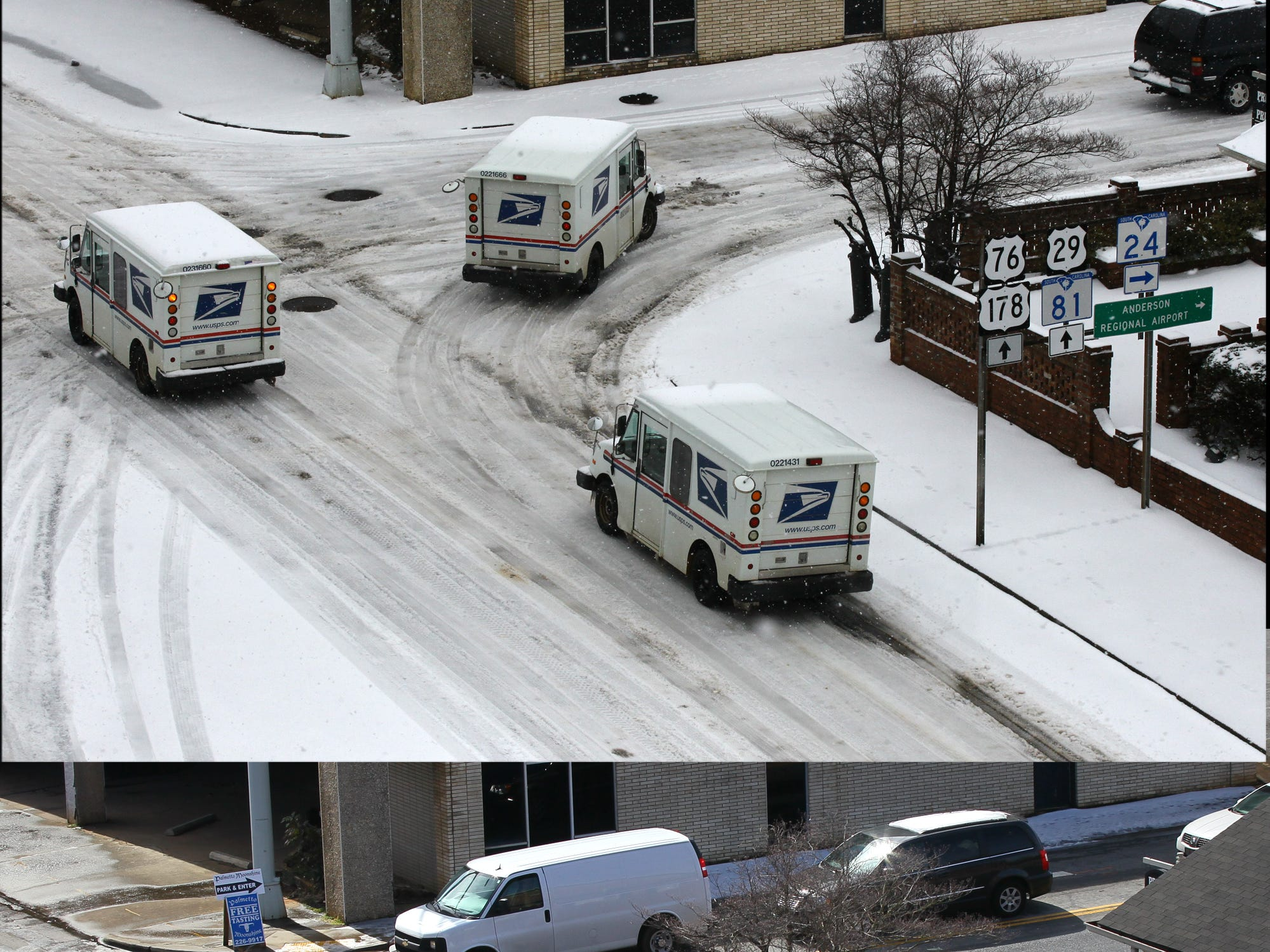 United States Postal Office workers rode on snow covered roads at the intersection of Murray Avenue and West Whitner Street in Anderson Thursday morning, and a day later much of it melted away in 2014.