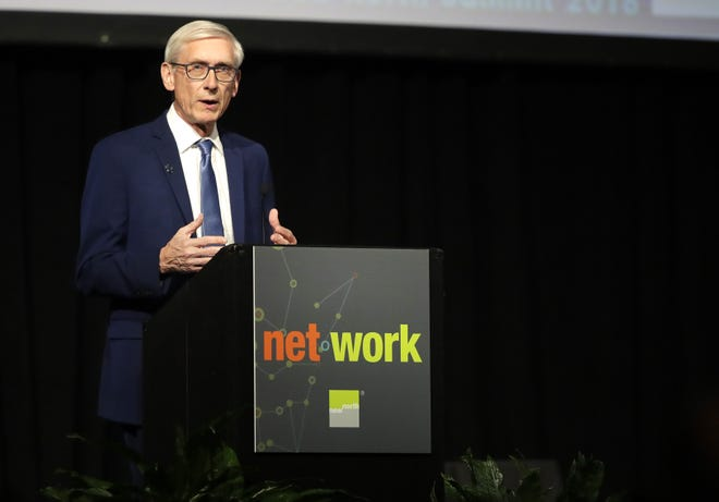 Governor-Elect Tony Evers spoke at the annual New North Summit at the Fox Cities Exhibition Center on Thursday.