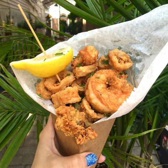 Fried seafood at Anjelica's Restaurant in Sea Bright.