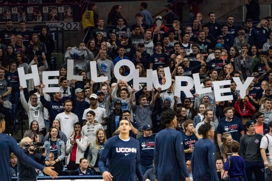 Fans in the student section welcome Connecticut Huskies head coach Dan Hurley on his first night coaching at Connecticut during the first half against the Morehead State Eagles at Gampel Pavilion.