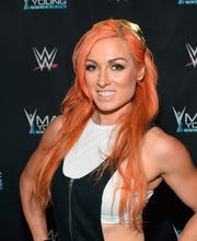 WWE Superstar Becky Lynch appears on the red carpet of the WWE Mae Young Classic on September 12, 2017 in Las Vegas.