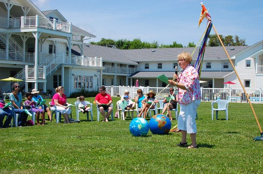 Sister Joan Carey addresses the participants in the Summer Solstice Celebration at Stella Maris Retreat Center in Long Branch in 2012.