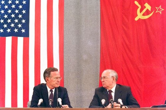 President George H.W. Bush and Soviet leader Mikhail Gorbacheve, in 1991 in Moscow.