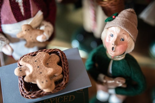 In the Snavelys' kitchen are Byers' Choice figurines representing bakers and other food-related professions.