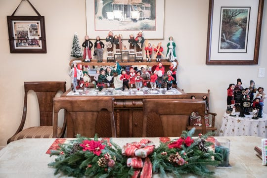 The Byers' Choice figurines are displayed in almost every room in the Snavely's condominium.