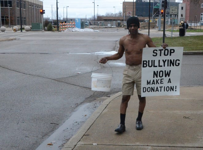 Bobby Holley is walking in the cold Monday to raise money for his anti-bullying campaign.