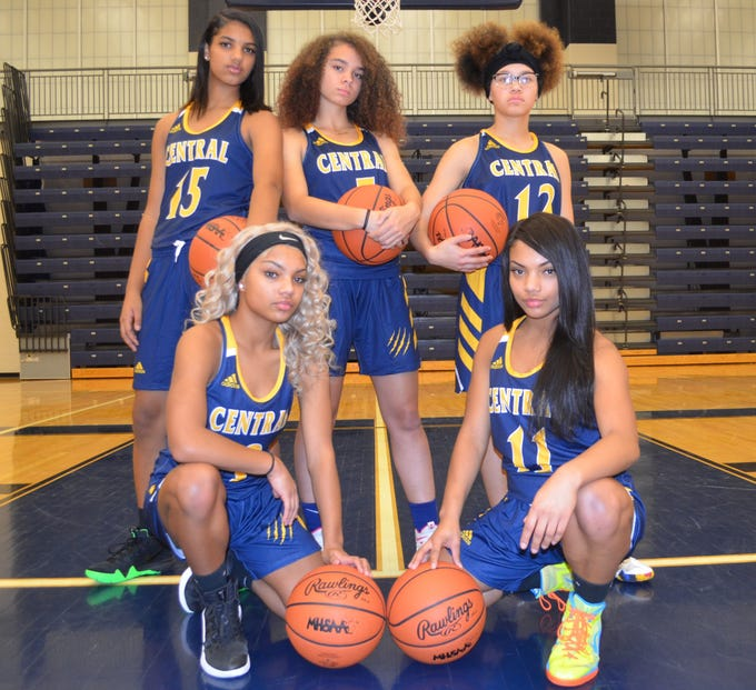 The returning leaders for the Battle Creek Central girls basketball team, including back row, from left, Arieonna Ware, Kandis Orns and Kamaira Armstrong. Front, Tenia Richardson and Cheria Richardson.