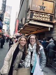 "Windsor Central High School social studies teacher Sarah Bidwell, left, and high school junior Samantha Sova  outside of the Richard Rodgers theater, which is home to ""Hamilton"" on Broadway."