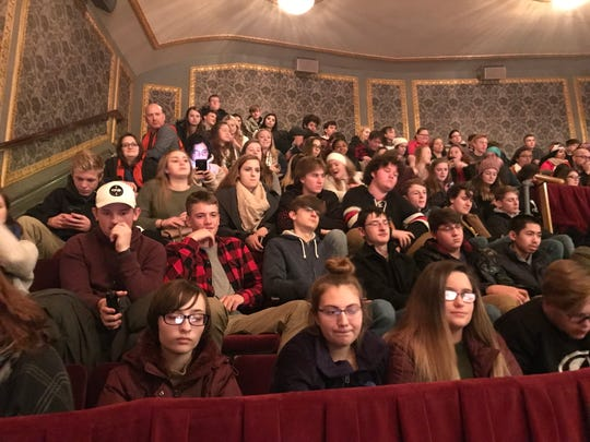 """A grant from the Gilder Lehrman Institute of American History allowed 80 Windsor Central High School juniors to see """"Hamilton"""" on Broadway on Dec. 5 at the Richard Rodgers Theatre."""