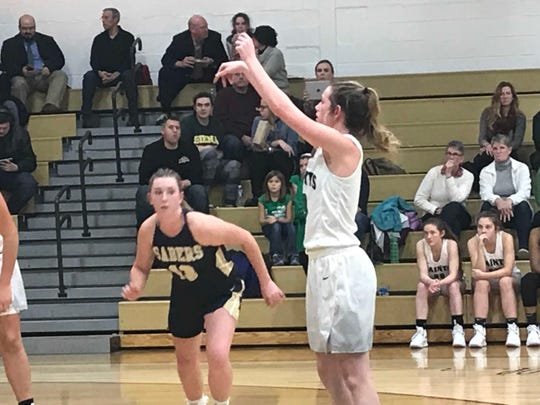Seton Catholic Central's Emily Dempsey follows through on a free throw in the second half of Wednesday's Southern Tier Athletic Conference game against visiting Susquehanna Valley. Dempsey had nine points in the Saints' 70-29 victory.