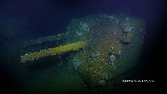 A 5-inch gun see on the wreckage of USS Cooper. RV Petrel found the Cooper resting on the floor of Ormoc Bay in the Philippines more than 600 feet below the surface.