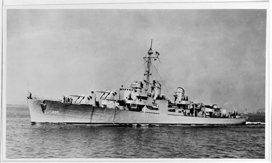 James Villiers served aboard the USS Cooper, shown here when it was completed, circa March 1944. Wartime censors retouched this image to obscure radar antennas on the ship's foremast and Mark 37 director.