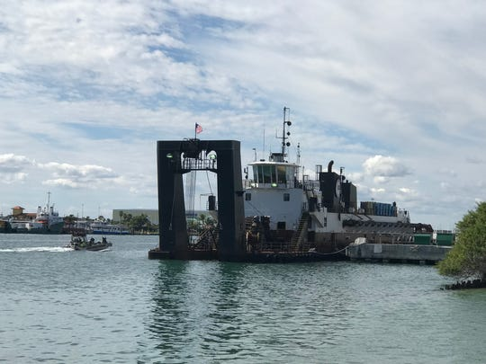 The dredge Charleston will pump a mixture of sand and seawater through the pipe, across the inlet and onto the beach.