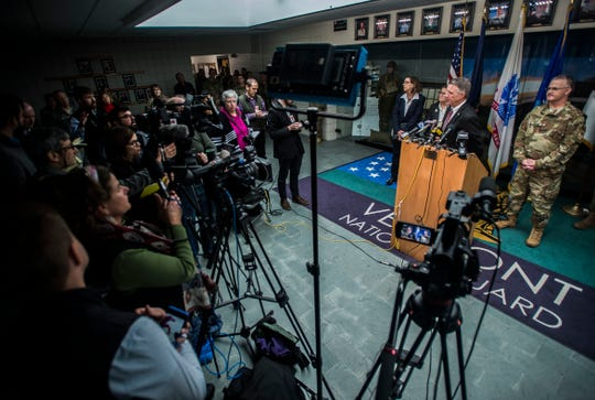 Gov. Phil Scott answers questions during a news conference on Thursday, Dec. 6, 2018, at the Vermont National Guard in Colchester after revelations came to light following a series of stories published by VTDigger.org describing sexual misconduct and the climate towards women at the guard.