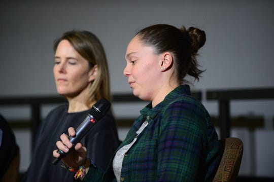 Liza Ryan and Kate O'Neill at a town hall discussion about opioid addiction on Dec. 5 2018