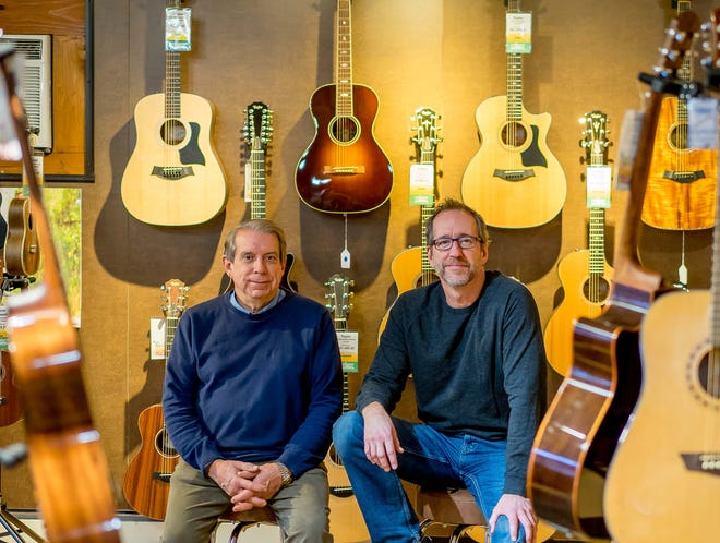 Advance Music co-owners Jeff Wheel and Mike Trombley in their showroom