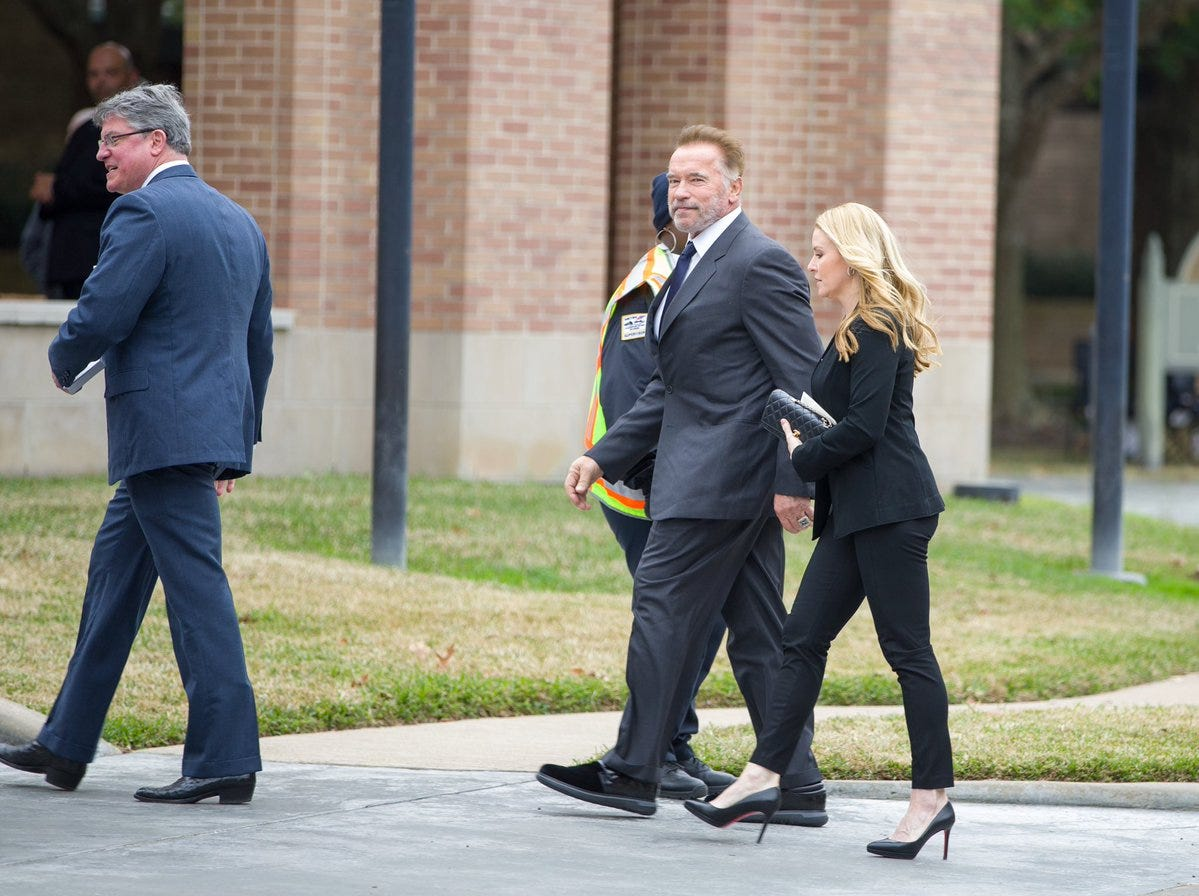 Former California Gov. Arnold Schwarzenegger arrives at St. Martin's Episcopal Church on Thursday, Dec. 6, 2018, for the funeral service for former President George H.W. Bush in Houston, Texas.