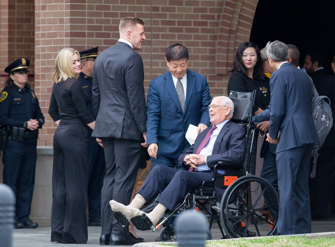 J.J. Watt, with the Houston Texans, arrives at St. Martin's Episcopal Church on Thursday, Dec. 6, 2018, for the funeral service of former President George H.W. Bush in Houston, Texas.