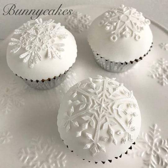 Snowflake cupcakes are unique, just like the real thing, at Bunnycakes custom bakery in Berlin Borough.