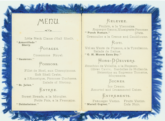 """The menu from the """"Trefa Banquet"""" of 1883"""
