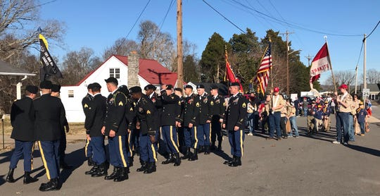 Members of Fort Campbell's Sabalauski Air Assault School prepare to lead Dover's Christmas Parade.