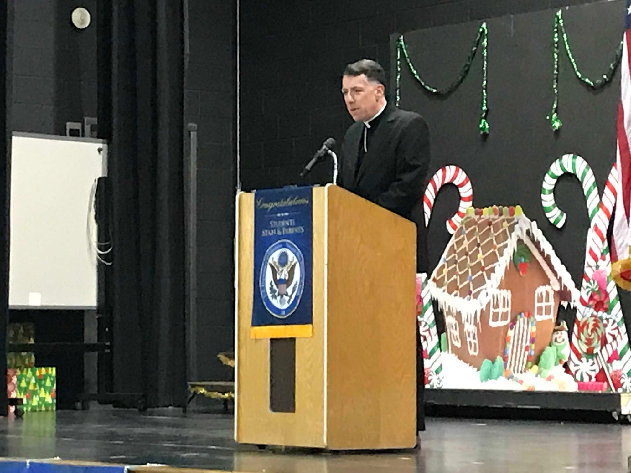 Diocese of Metuchen Bishop James Checchio addressed the group at Saint  HelenaSchool in Edison. The school  celebrated its 2018 NationalBlue Ribbon School of Excellence award.
